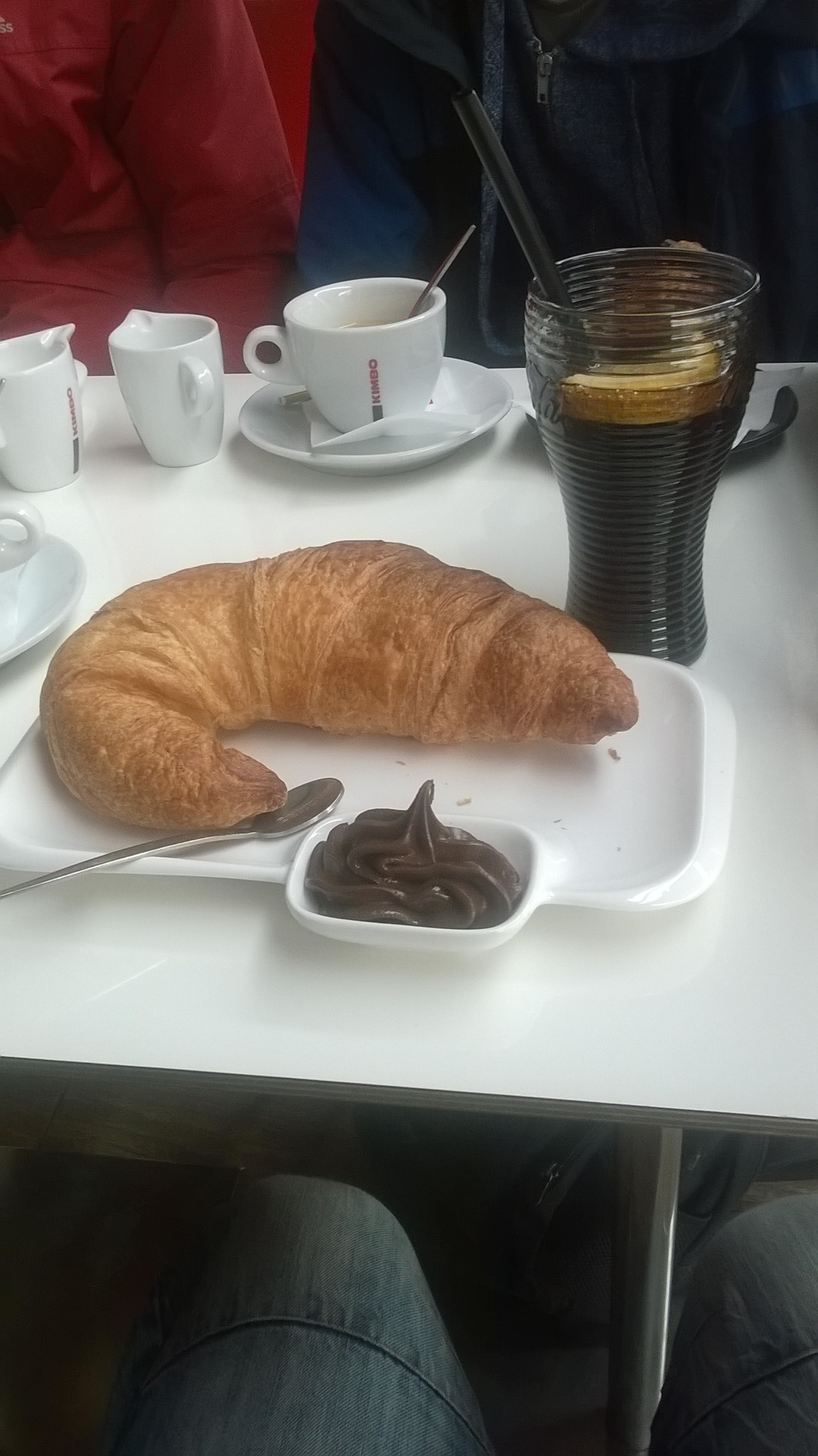 Dom's breakfast of croissant and nutella